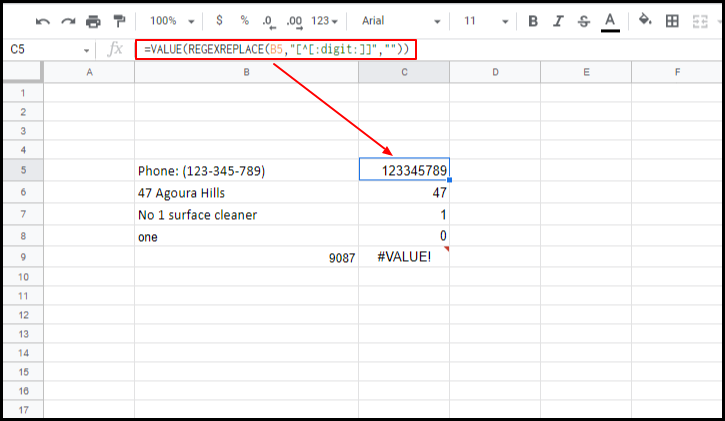Numbers extracted using the REGEXREPLACE formula