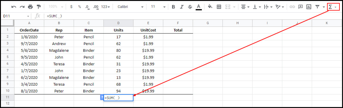 the SUM function appearing in Google Sheets