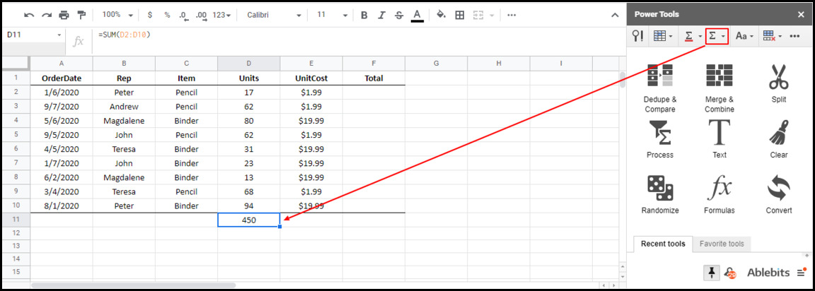 the result of autosum in Google Sheets using Power Tools