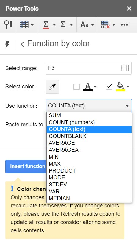 The Functions by Color Menu